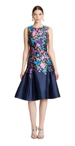 Oscar de la Renta Chine Garden Floral Mikado Flared Dress
