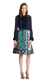 Oscar de la Renta Double Georgette Pleat-Detail Blouse