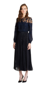 Oscar de la Renta Illusion-Lace Tie-Neck Silk Blouse