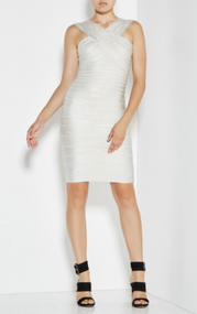 Herve Leger Stella Woodgrain Foil Dress