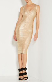 Herve Leger Sarai Woodgrain Foil Dress