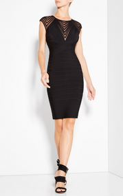 Herve Leger Deanna Tulle Applique Dress