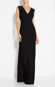 Herve Leger Bettina Starburst Sequin Long Dress