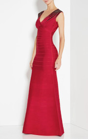 Herve Leger Bettina Lipstick Red Starburst Sequin Long Dress