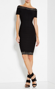 Herve Leger Karlee Eyelet Off-The-Shoulder Dress