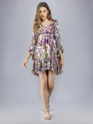 Roberto Cavalli Bell Heather Georgette Dress