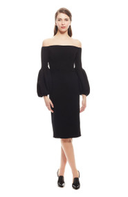 Lela Rose Wool Crepe Off the Shoulder Dress