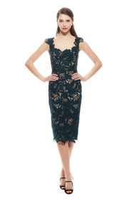 Lela Rose Leaf Guipure Lace Scalloped Scoop Neck Dress