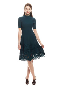Lela Rose Leaf Guipure Lace Ottoman Knit Dress