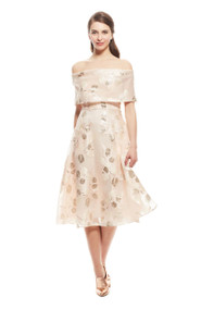 Lela Rose Tulip Fil Coupe Off the Shoulder Dress