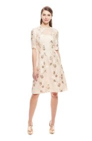 Lela Rose Tulip Fil Coupe Elbow Sleeve Dress