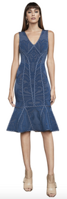 Herve Leger Lilykate Geometric Flourish-Plaited Pointelle Dress