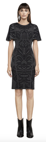 Herve Leger Janie Geometric Flourish-Plaited Pointelle Dress