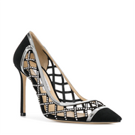 Jimmy Choo Romy Black Suede Cut-Out Diamond Pumps