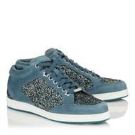 Jimmy Choo Miami Dusk Blue Suede Glitter Sneaker