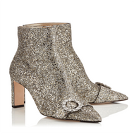 Jimmy Choo Hanover Platinum Chunky Glitter Bootie with Crystal Buckle