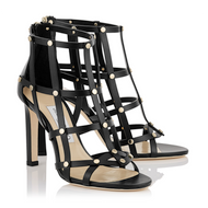Jimmy Choo Tina Black Gold Studded Gladiators