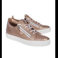 Giuseppe Zanotti Pregol Ramino Snakeskin Lace-Up Sneaker wtih Side Zips
