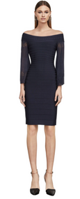 Herve Leger Raised Grommet Jacquard Pointelle Dress