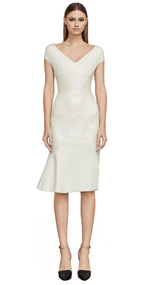 Herve Leger Cap-Sleeve Geospliced Foil Dress