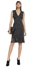 Herve Leger Lisett Metallic Tipping Bandage Dress