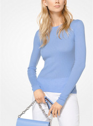 Michael Kors Featherweight Blue Cashmere Pullover