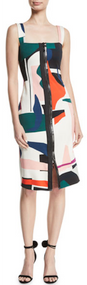 Cushnie Et Ochs Sleeveless Expressionist Print Pencil Dress with Dual Zip