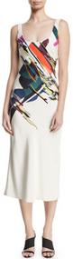 Cushnie Et Ochs Sleeveless Bias Cut Slip Expressionist Print Dress