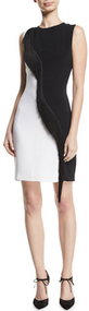 Cushnie Et Ochs Cady Sleeveless Mini Dress with Asymmetric Fringe