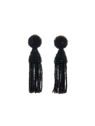 Oscar de la Renta Short Tassel Earrings with Black Glass Beads