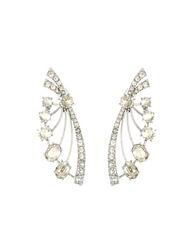 Oscar de la Renta Crystal Deco Fan Earrings