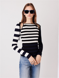 Oscar de la Renta Striped Silk and Cotton Blend Pullover