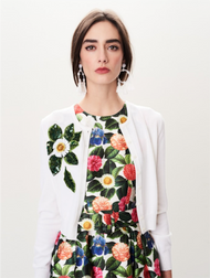 Oscar de la Renta Embroidered Beaded Cardigan
