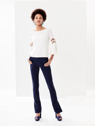 Oscar de la Renta Ivory Flutter-Sleeve Pullover