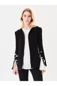 Oscar de la Renta Pearl-Embroidered Stretch-Wool Crepe Jacket