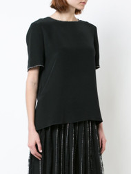 Adam Lippes Silk Crepe T-Shirt with Crystal Trim