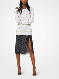 Michael Kors Pearl and Crystal Embroidered Cashmere Pullover