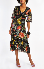 Fuzzi Floral Print Loose-Fit Dress
