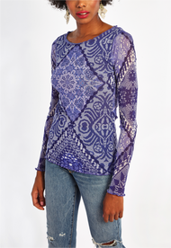 Fuzzi Embroidered Long Sleeve Top