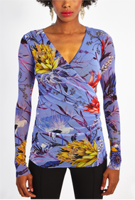Fuzzi Floral Pattern Long Sleeve V-Neck Top