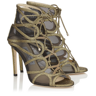 Jimmy Choo Malena Gold Mini Crackled Leather and Techno Raffia Sandal