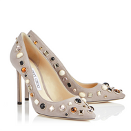 Jimmy Choo Romy Opal Grey Suede Pointy Toe Pump with Mixed Cabochon Studs