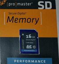 "Promaster ""Performance""  SD HC 16GB (Class 10) Memory Card"