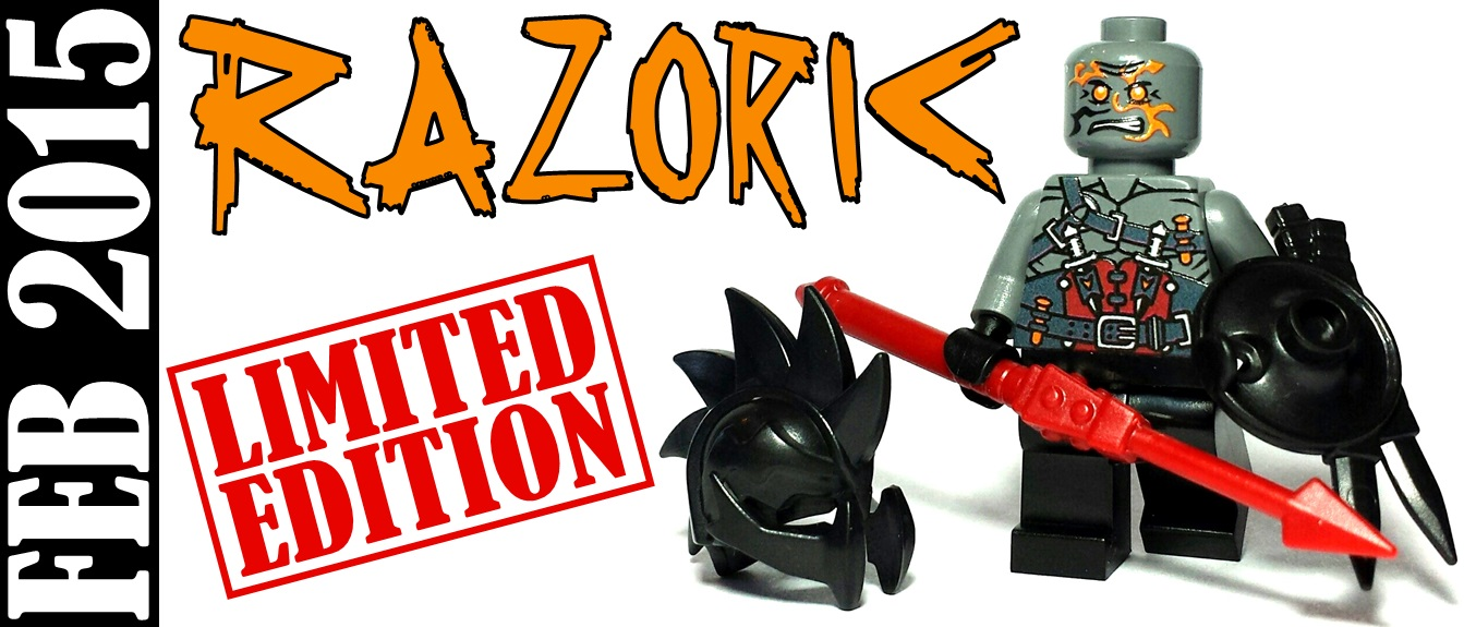 limited edition custom lego minifigure release - razoric from riddle of regicide