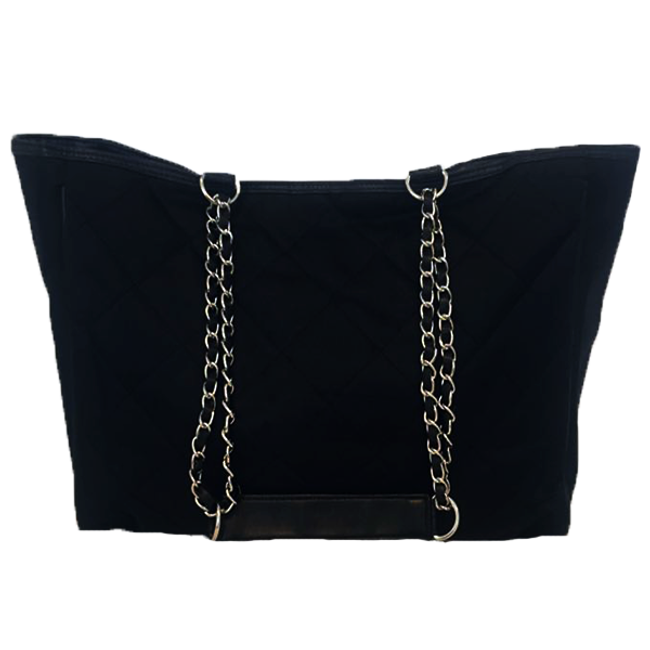 Black Quilt Tote w/ Silver Chain
