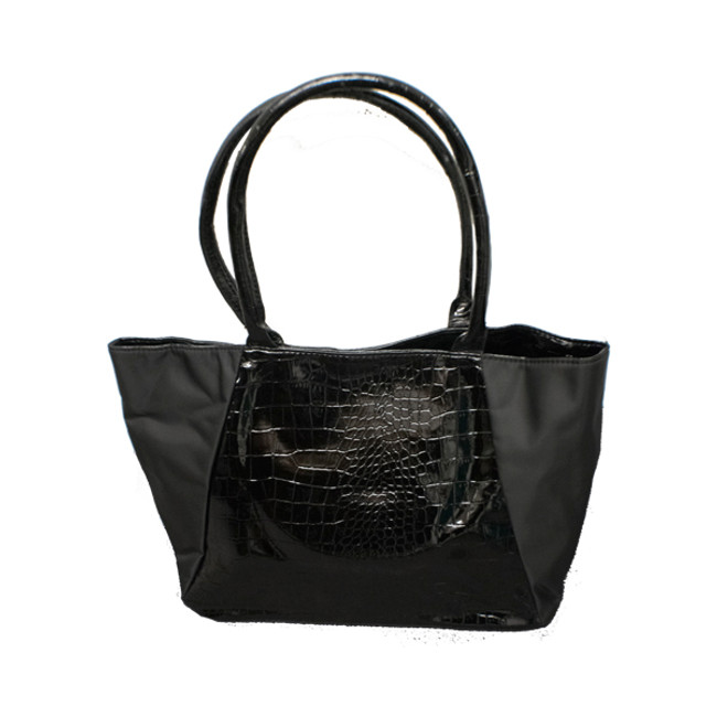Black Tote with Croc Embossed Patent