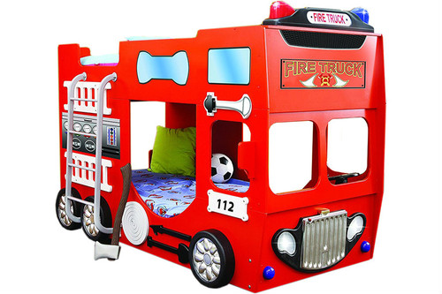 Double Fire Truck Bunk Bed For Children