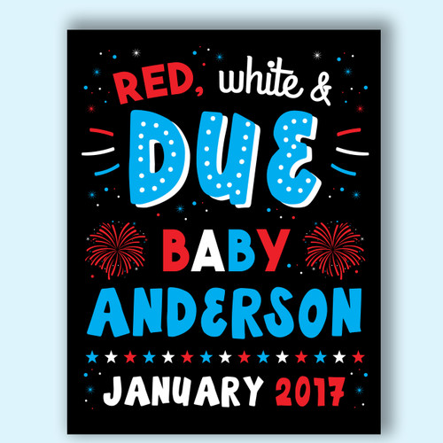 Fourth of July Printable Pregnancy Announcement Sign