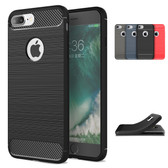 Slim iPhone 8 Plus 7 Pls Carbon Fiber Soft Case Cover Apple 8+ 7+