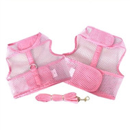 Pink Cool Mesh Dog Harness with Leash